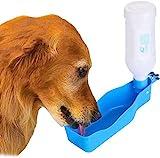 Bebedero Botella, WADEO Bebedero Botella Perro Portátil Plástico Botellas de Agua para Perros Mascotas al Aire Libre Caminar Paseo Viajar , 350 ml, Azul