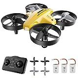 ATOYX Mini Drone para Niños, RC Helicopter Quadcopter AT-66C, 3D Flips, Modo sin Cabeza, Estabilización de Altitud, 3 Velocidades,3 Baterías, Regalo para Niños y Principiantes(Amarillo)