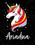 Ariadna: Cuaderno de dibujo grande unicornio para niña con nombre personalizado y diseño de kawaii unicornio , regalo de cumpleaños y navidad o San Valentín.