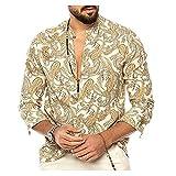 Camisas De Manga Larga De Estilo Étnico con Estampado De Cachemir para Hombre