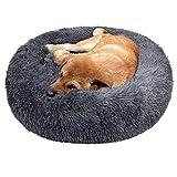 TAMOWA Cama Perro Suave Cama Gato Redonda, Camas de Gatos Perros de Donut con Parte Inferior Antideslizante, Cómodo Suave y Cálida Cama para Mascotas Gatos y Perros Pequeños, 80cm, Gris Oscuro