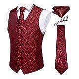 DiBanGu Chaleco de cachemira para hombre y corbata con bolsillo cuadrado para esmoquin