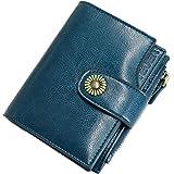 TEUEN Cartera Mujer Cuero Autentico con Bloqueo RFID Billetera Mujer Piel Pequeña con Cremallera, Carteras con Monedero para Mujeres con 12 Tarjetas, Billeteros de Mujer Piel Pequeño (azul2)