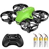 Potensic Mini Drone para Niños, Drone A20 Quadcopter con Control Remoto, Un Botón de Despegue y Aterrizaje, Modo sin Cabeza, Fácil de Llevar, 3 Modos de Velocidad, 3 Baterías, Verde