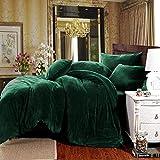 Michorinee Juego de ropa de cama de invierno de 200 x 200 cm, cachemir, suave y cálido, forro polar coral, con cremallera, color verde oscuro, 200 x 200 cm + 2 x 80 x 80 cm