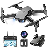 tech rc Drone con Cámara HD 1080P, Drone FPV Plegable Drone Profesional Posicionamiento de Flujo Óptico, 2 baterías, Control Remoto WiFi, Un botón de despegue / Aterrizaje, Modo sin Cabeza 3D Flip