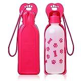 Anpetbest 325ml (11 fl oz) perros botella, Portátil botella de agua viaje para mascotas Bebedero, para Paseos diarios, Excursionismo, Cámping, Playa, Sin BPA El plastico (rosa)