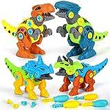 kramow Dinosaurios Juguetes para niños 4 5 6 7 años,Desmontar Dinosaurios Construccion Juguetes con Taladro,Juguete Educativo Stem Regalo Niño Niña (4 PCS)
