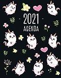 Kawaii Unicornio Agenda 2021: Planificador Annual | Enero a Diciembre 2021 | Ideal Para la Escuela, el Estudio y la Oficina