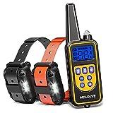 Meloive Collar de Adiestramiento Dos Perros, Recargable y Resistencia al Agua de IP67 con un Alcance de 800m con 99 Niveles de Modo de Vibración, Advertencia de Sonido, Luz.