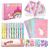 27 Piezas Unicornio Set de Papelería Bolígrafos Cuaderno Libreta de Notas y Conjunto de geometría, Regalos de Unicornio para Niñas Niños 6 7 8 9 10 años