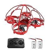 ATOYX Mini Drone para Niños y Principiantes, AT-66D RC Drone Protección Integral, 3D Flips,Una Tecla de Retorno, Modo sin Cabeza, Mejor Dron de Juguete, 2 Baterías,Rojo