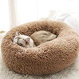 UKMASTER Cama de Felpa para Perros Cama Redonda para Mascotas Cama Donut de Felpa para Perros y Gatos Antideslizante con Cojín Lavable Color Marrón, S (50x26cm)