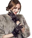 YISEVEN Guantes de cuero de piel de cordero con pantalla táctil para mujer Piel de conejo Cuff,Marrón 7.5/L