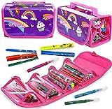 GirlZone Regalos para Niñas - Estuche Enrollable Rotuladores - Estuche Enrollable - 38 Rotuladores Perfumados - Scented Pens - Set de Papelería 3 a 12 años
