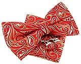 Conjunto de pajarita (12,7cm), pañuelo de bolsillo y gemelos con estampado de cachemir, set elegante para regalo rojo rosso Talla única