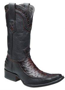 botas de piel de avestruz hombre negras
