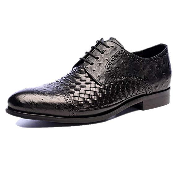 zapato elegante piel de avestruz negro