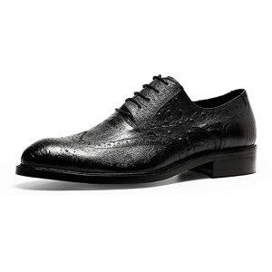 zapatos de piel de avestruz hombre negros