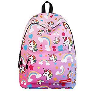 Mochila escolar de Unicornios para niña de color rosa