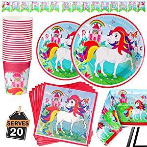 Vajillas de unicornios para fiestas desechables