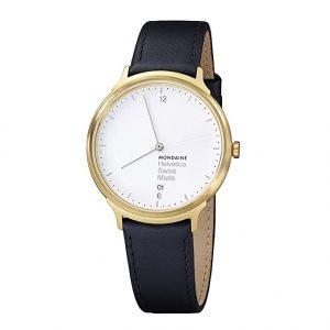 Reloj Suizo Unisex Mondaine Helvetica con correa de cuero negro