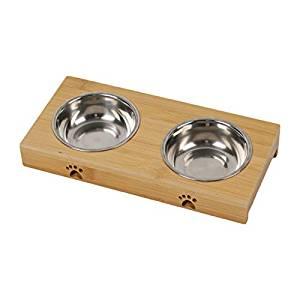 bebedero para perro con madera antideslizante y dos cuencos de acero inoxidable